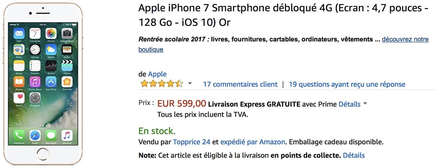 iPhone 7 doré Amazon