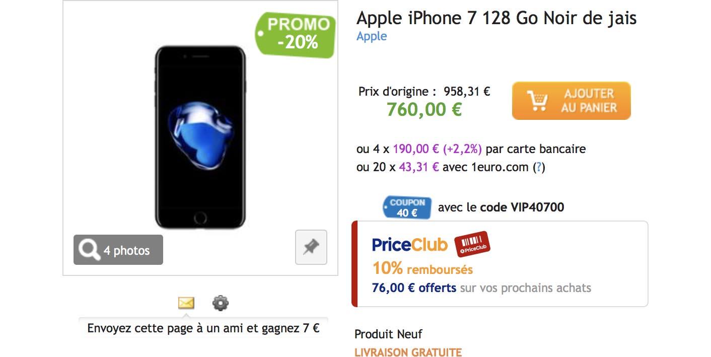 iPhone 7 promo noir de jais PriceMinister