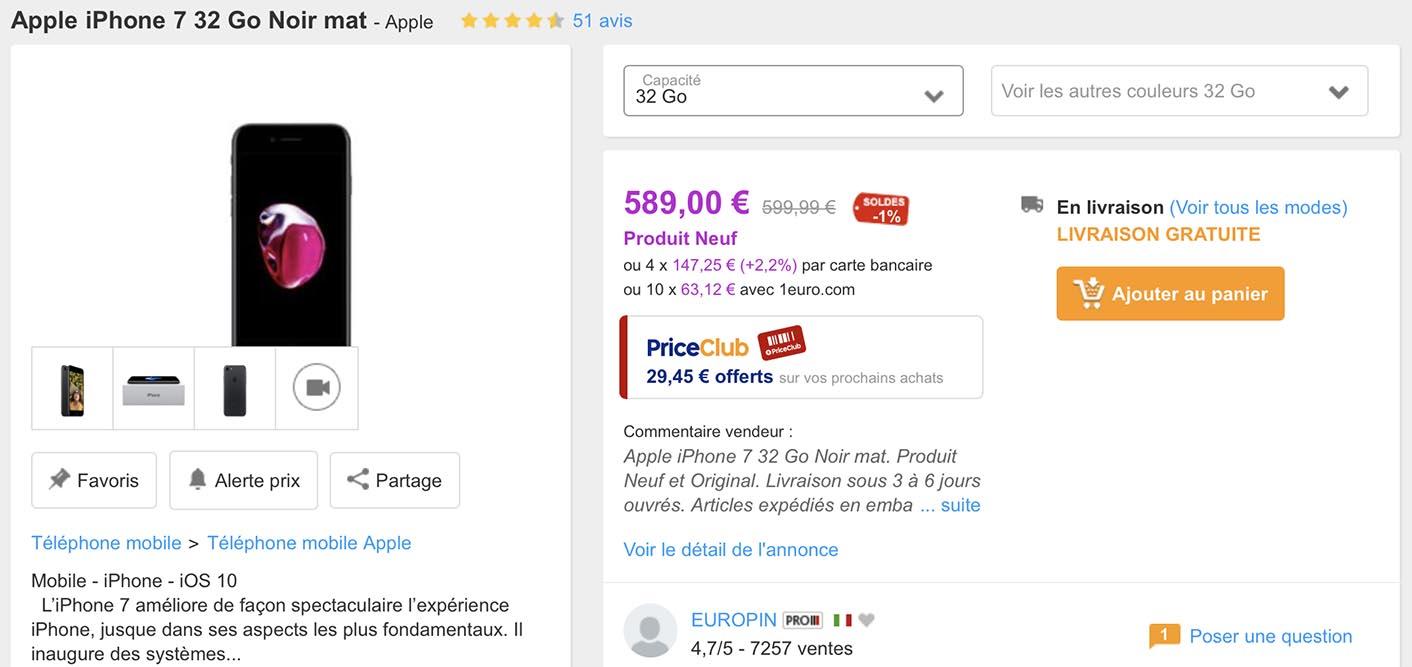 iPhone 7 promo PriceMinister