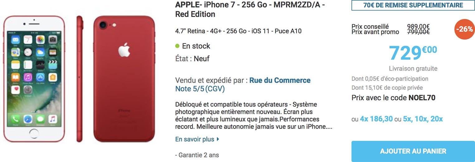 iPhone 7 rouge Rue du Commerce