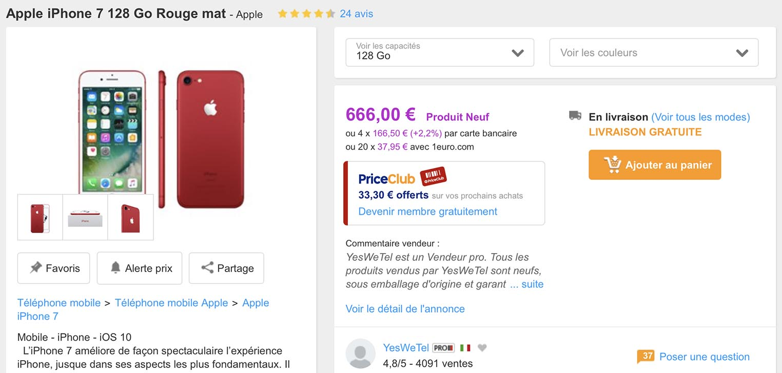 iPhone 7 rouge PriceMinister