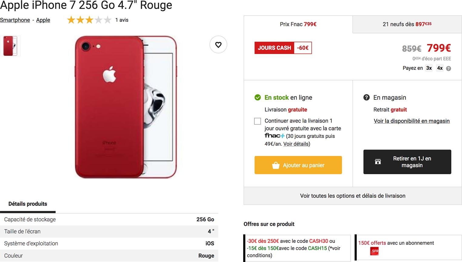 iPhone 7 rouge Fnac