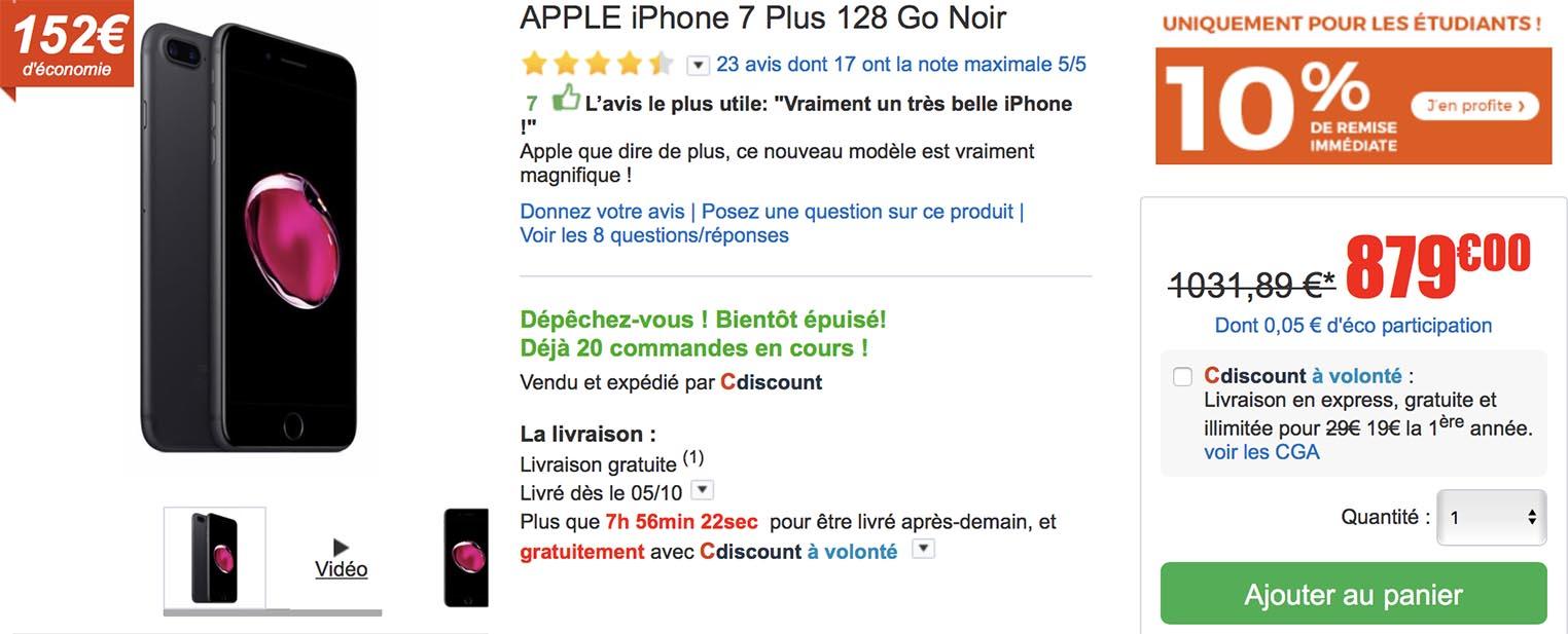 iPhone 7 Plus promo CDiscount