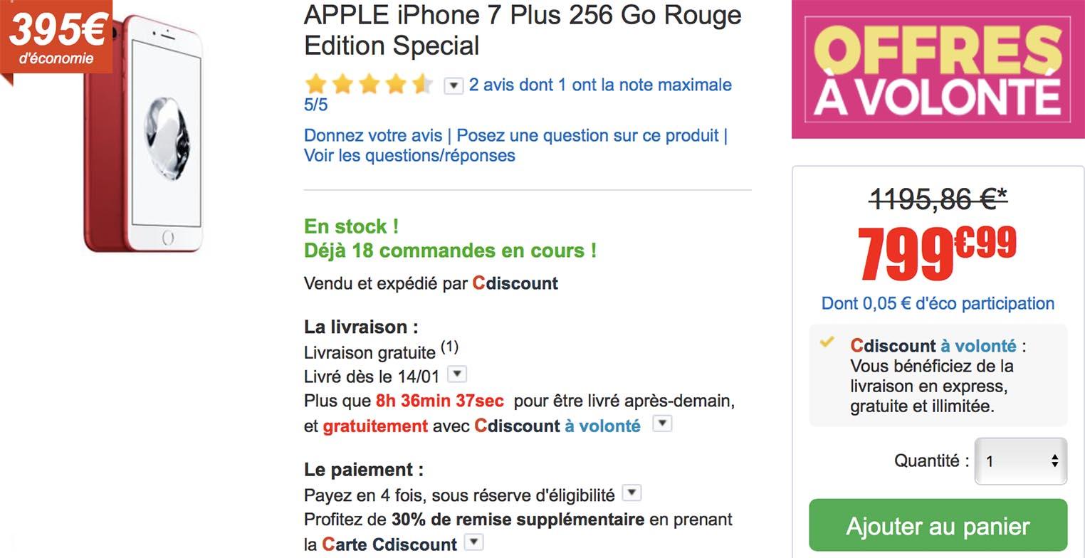 iPhone 7 Plus rouge CDiscount