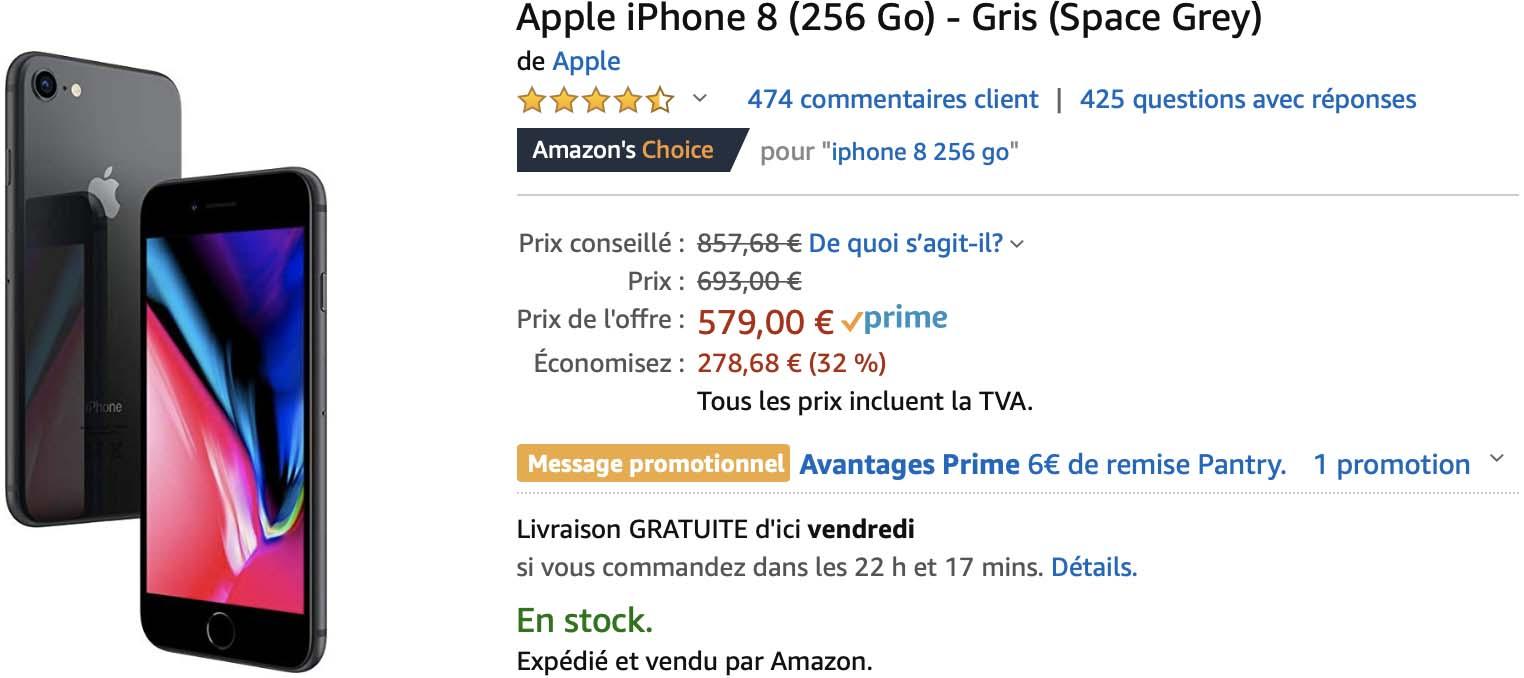 iPhone 8 256 Go Amazon