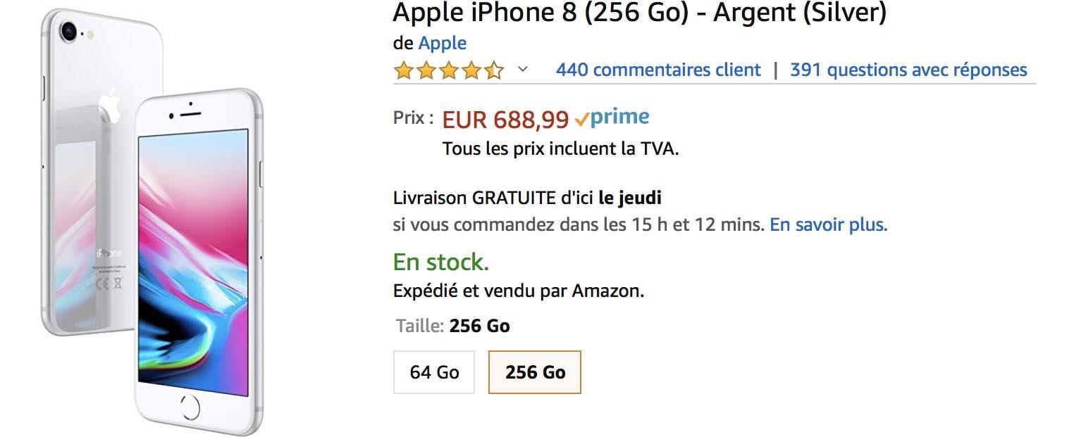 iPhone 8 argent Amazon