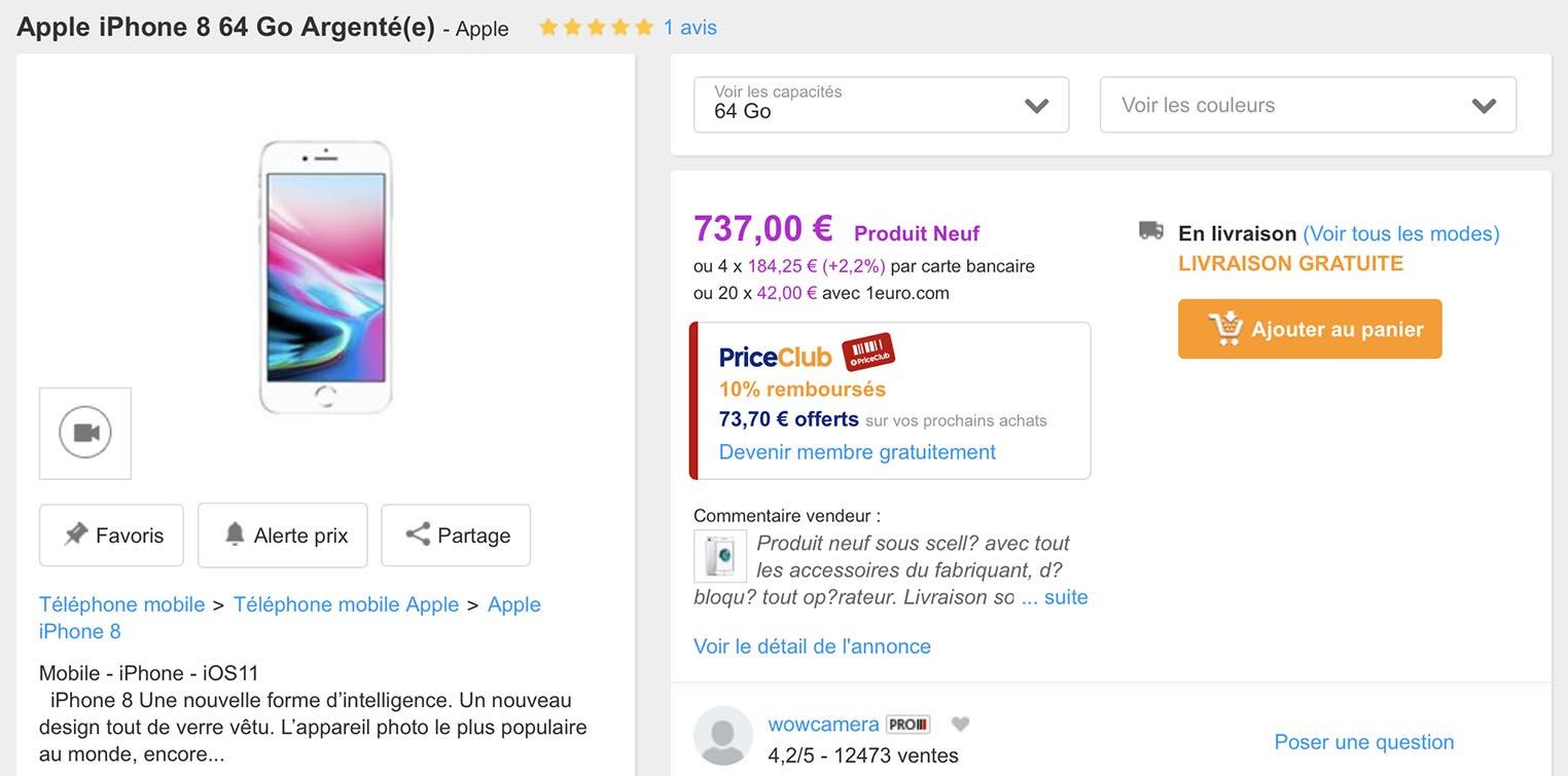 Promo iPhone 8 PriceMinister