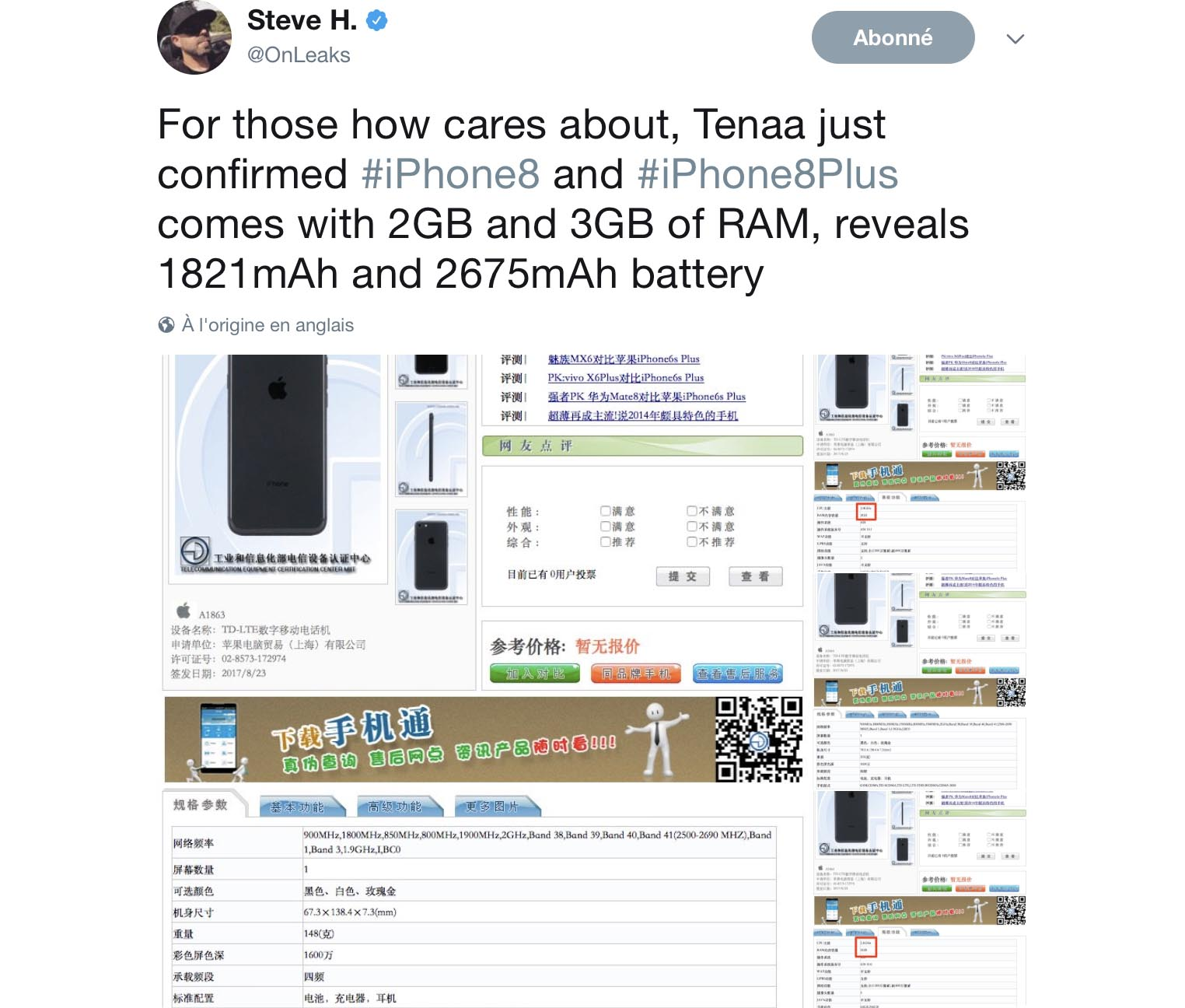 iPhone 8 batterie tweet