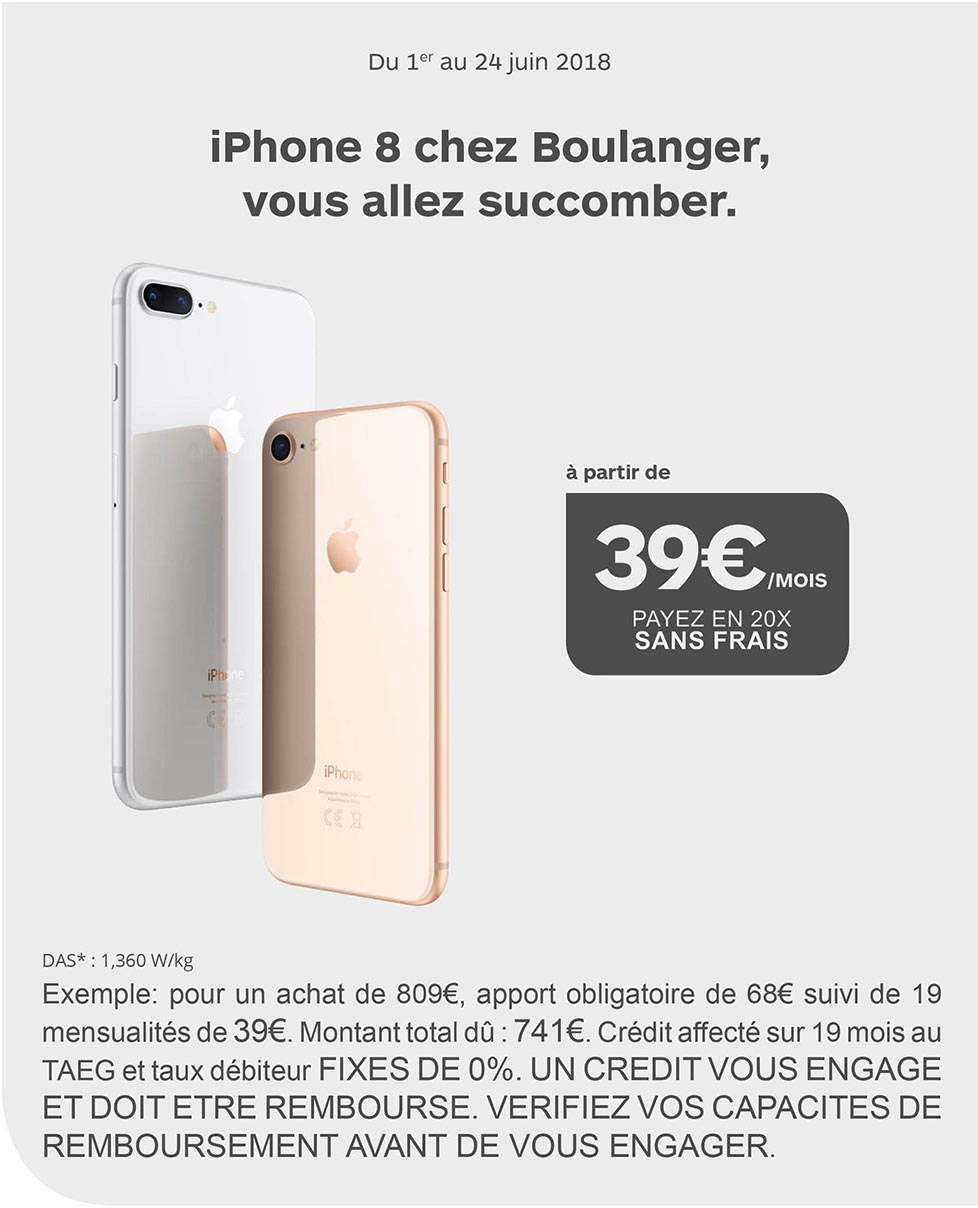 ... la différence   il propose un paiement en 20 fois sans frais sur les  deux téléphones d Apple. L offre sera disponible jusqu au dimanche 24 juin  inclus. 2682eab13ad0