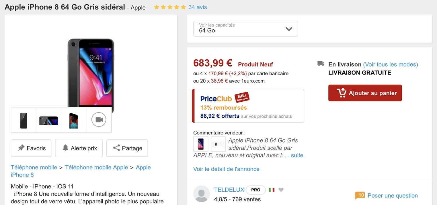 45214f2e6ade55 Consomac   L iPhone 8 en promotion chez PriceMinister