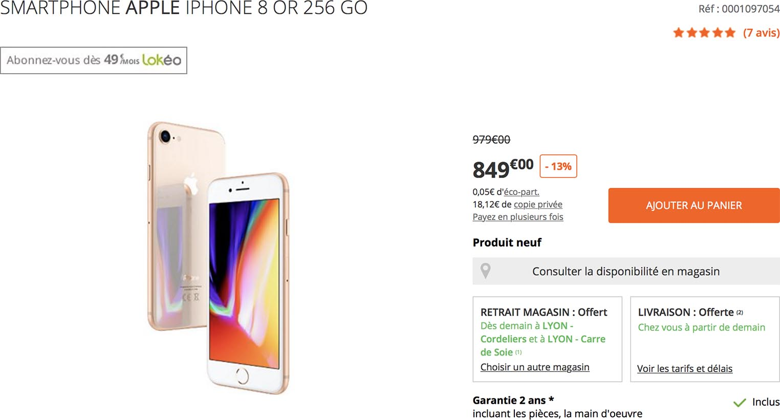 iPhone 8 or Boulanger