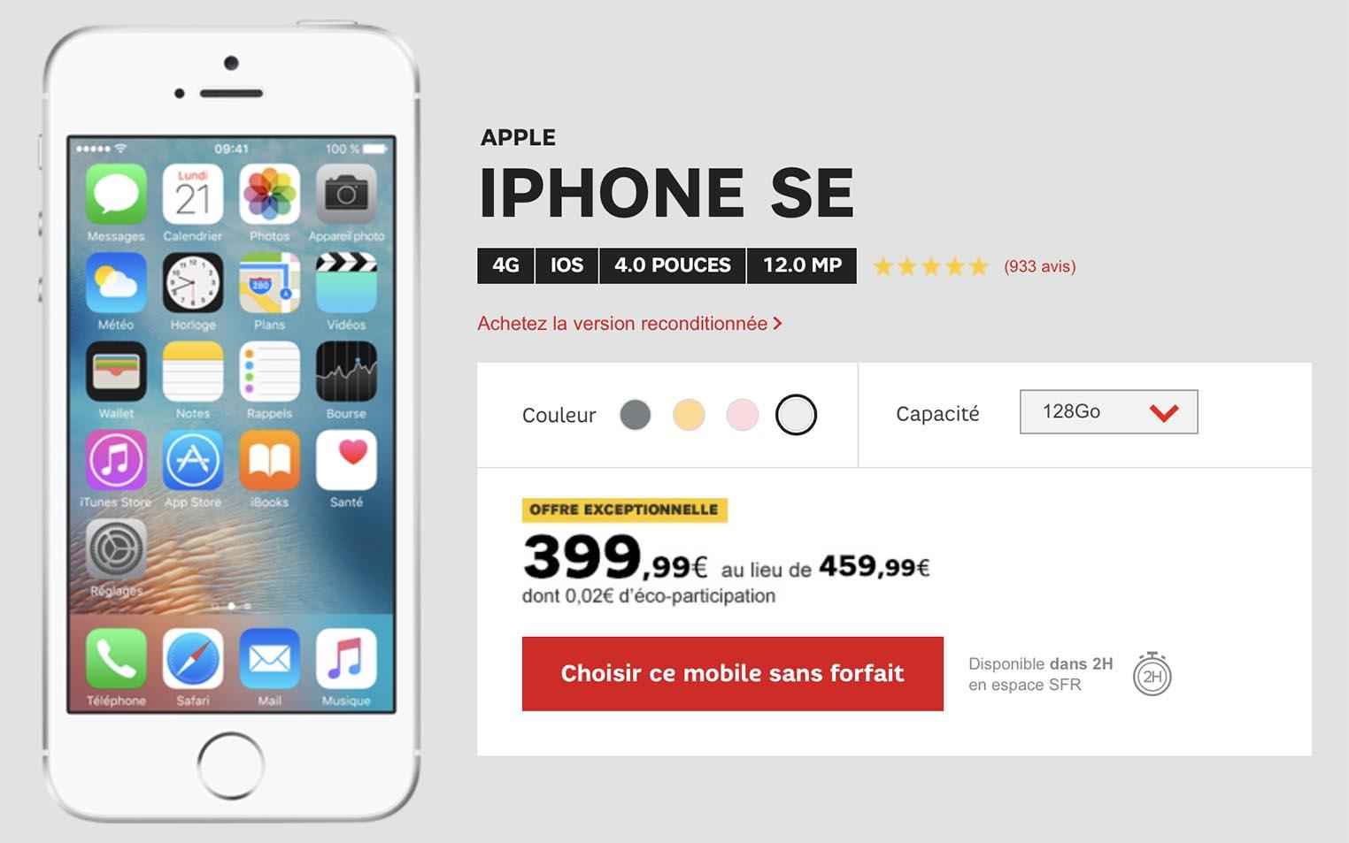 iPhone SE promo SFR