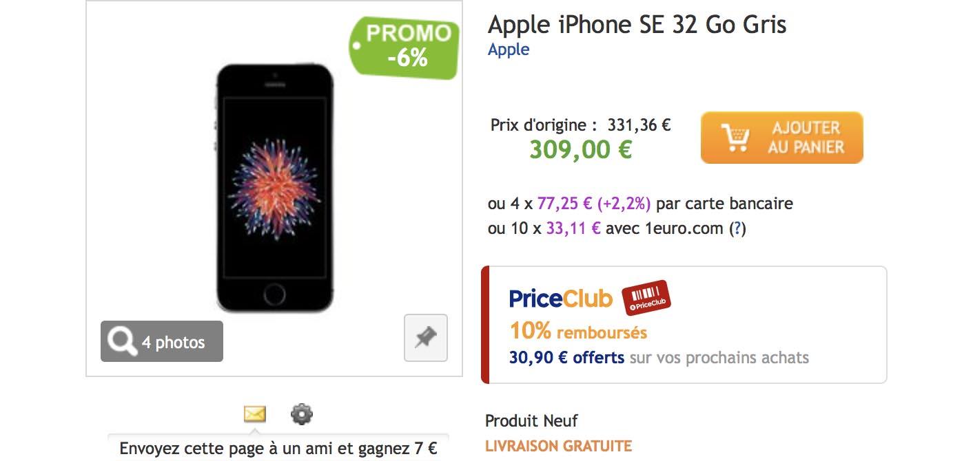 iPhone SE promo PriceMinister
