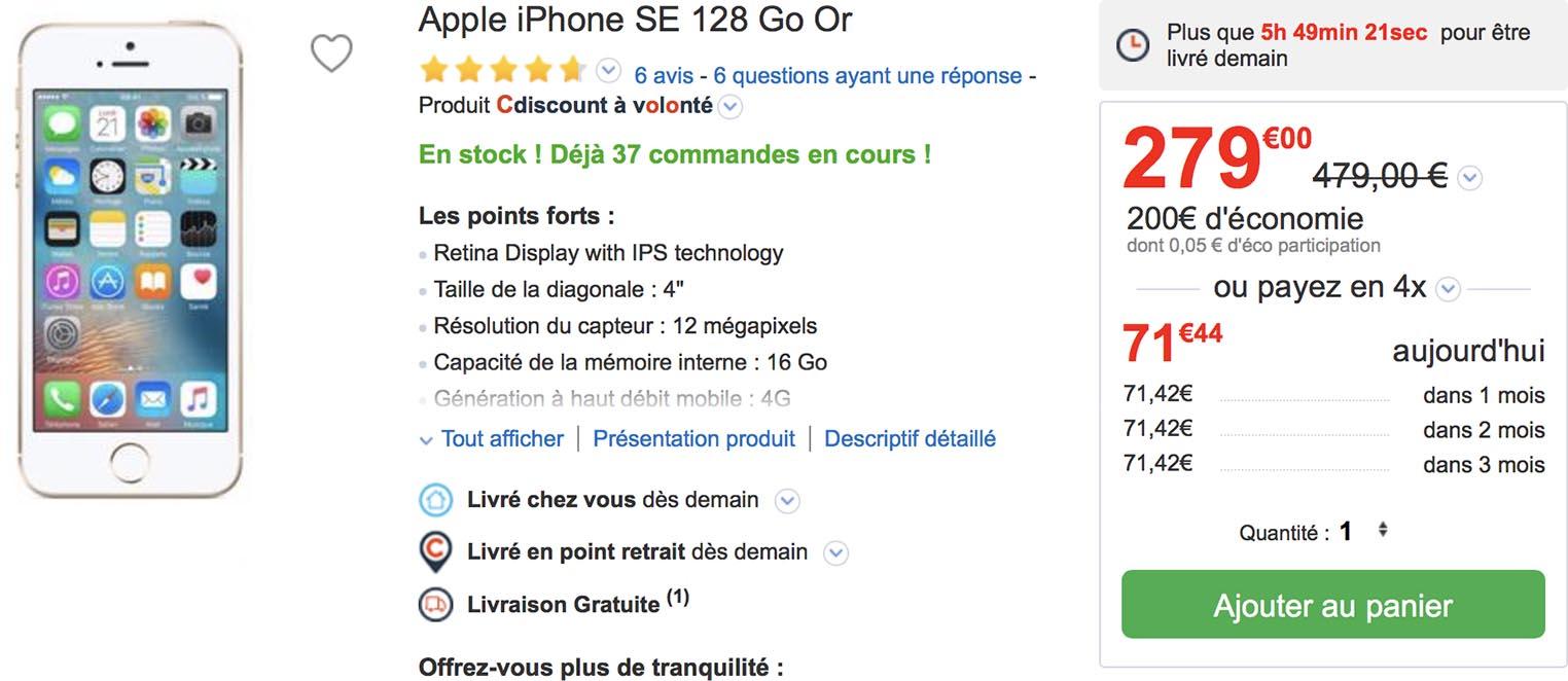 iPhone SE CDiscount