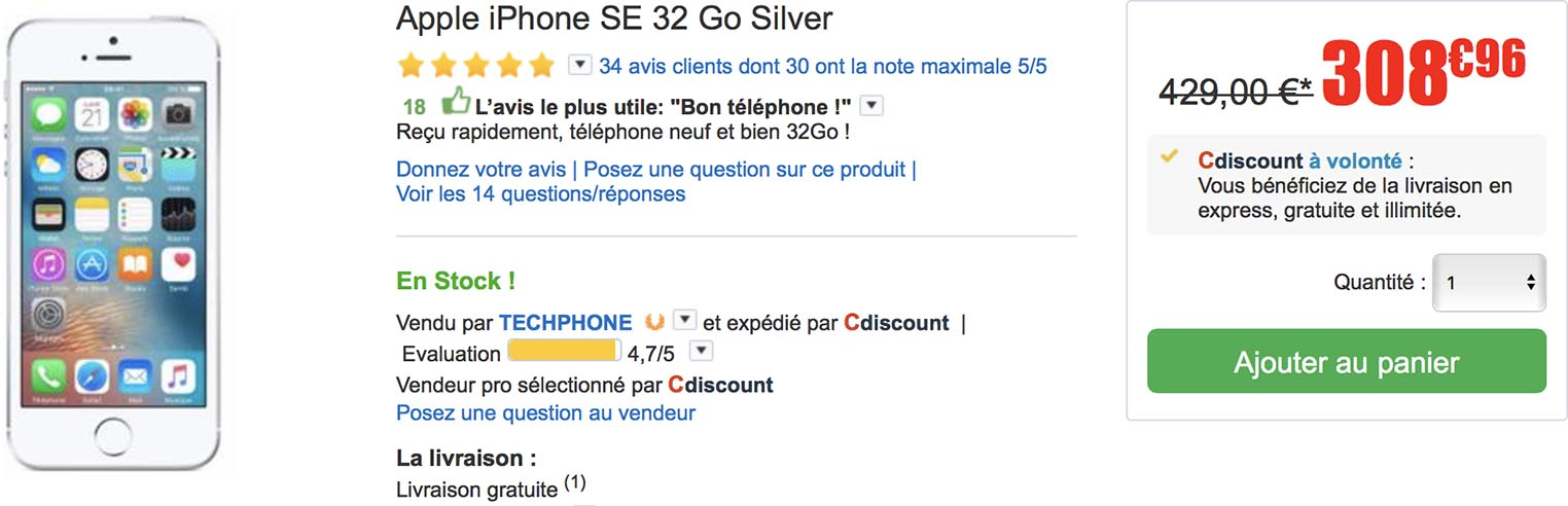 iPhone SE CDiscount