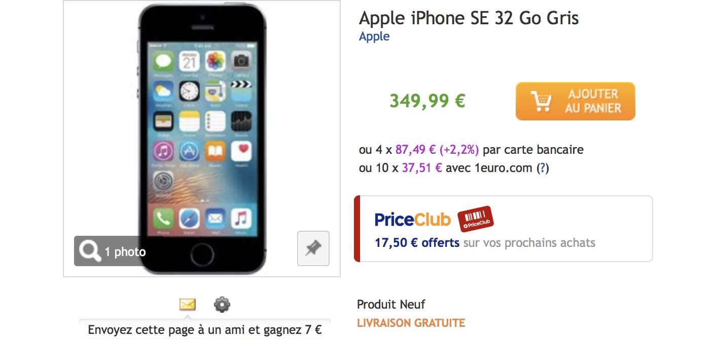 Promo iPhone SE PriceMinister