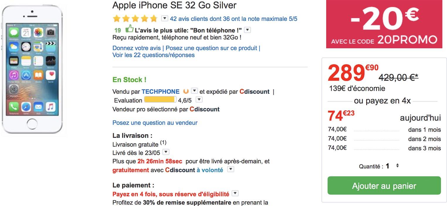 1314e5a2c33563 Consomac   Des iPhone SE à 264,95 € au lieu de 419 €