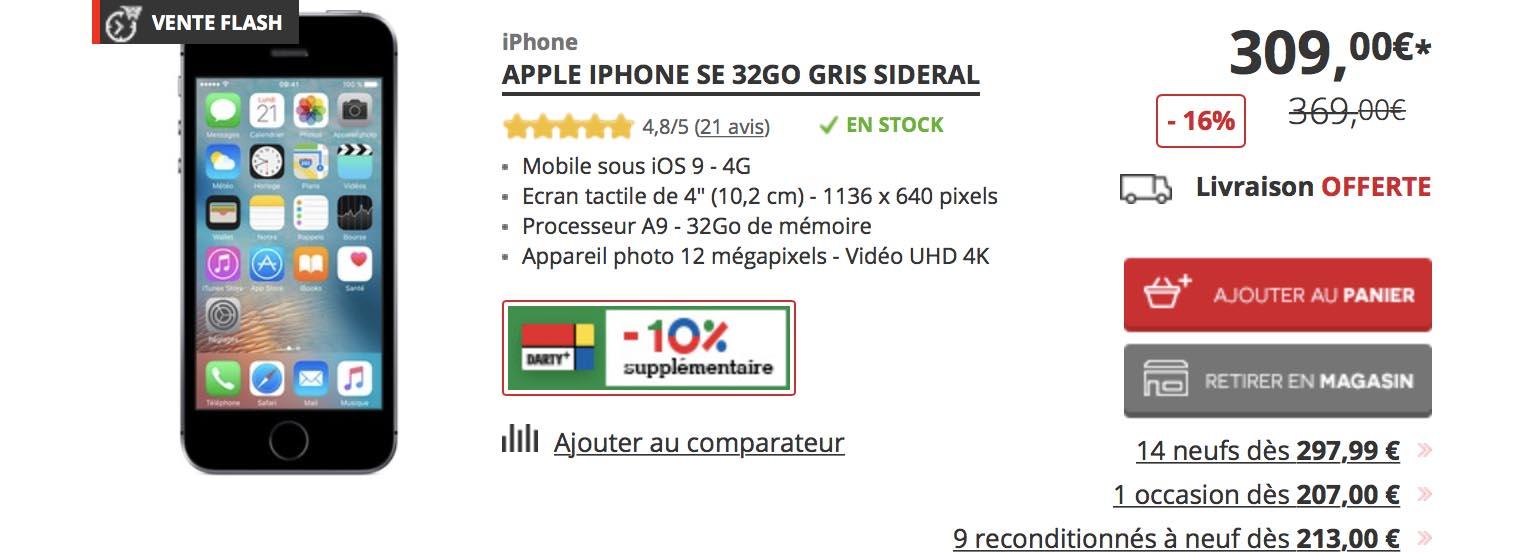 iPhone SE promo Darty