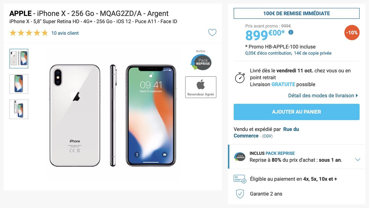 iPhone X Rue du Commerce