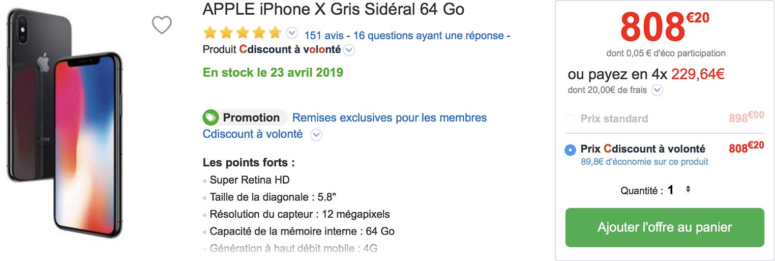 iPhone X CDiscount