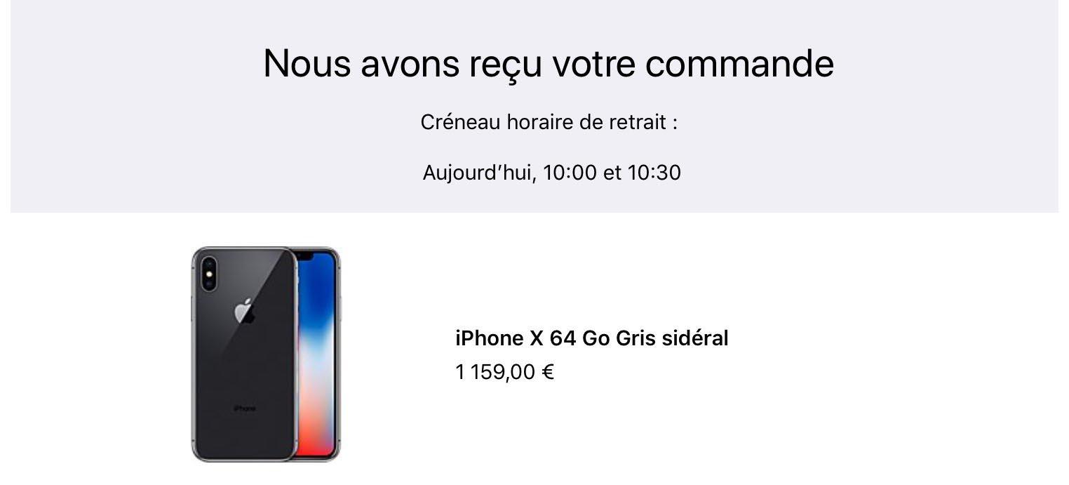 iPhone X retrait