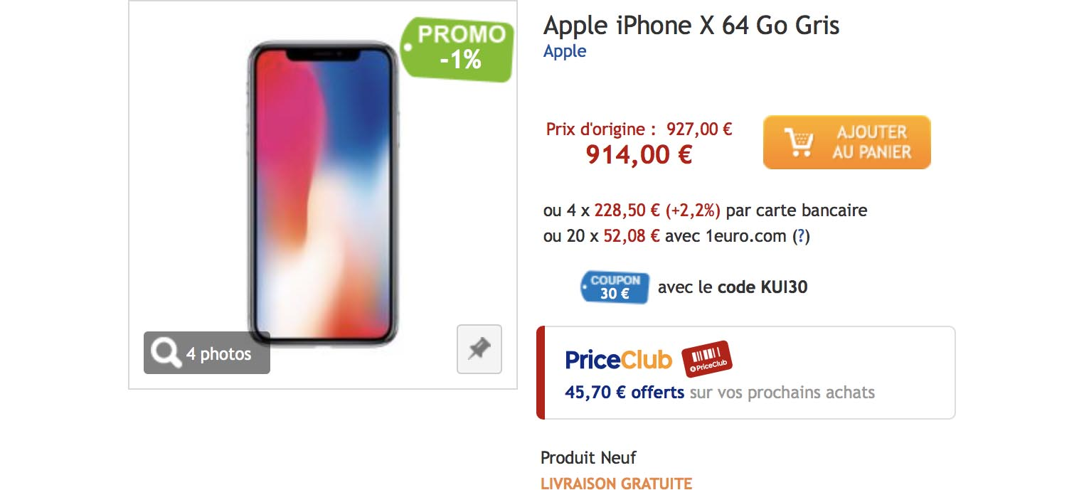 iPhone X PriceMinister