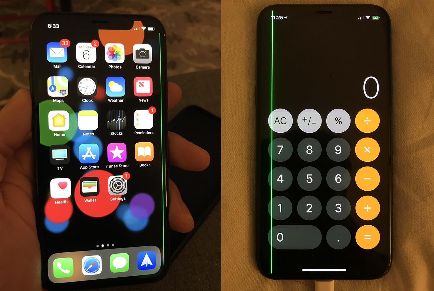 iPhone X ligne verte