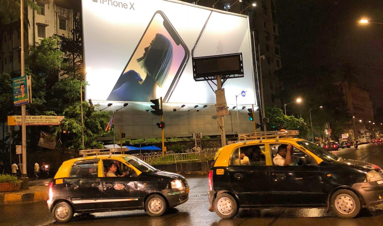 Publicité pour l'iPhone X à Mumbai, Inde