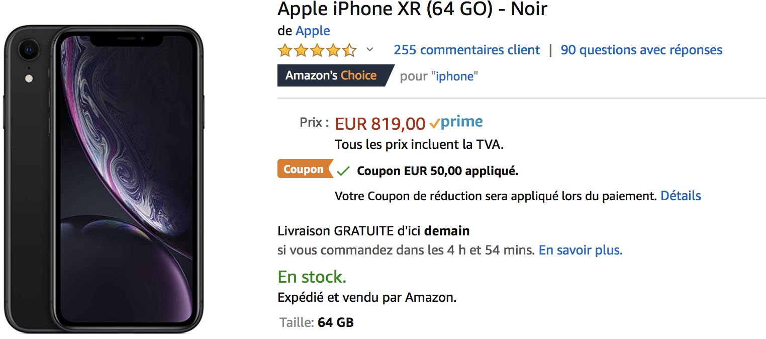 iPhone XR noir Amazon