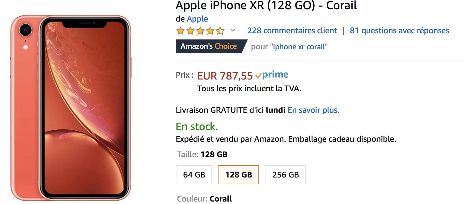 iPhone XR corail Amazon