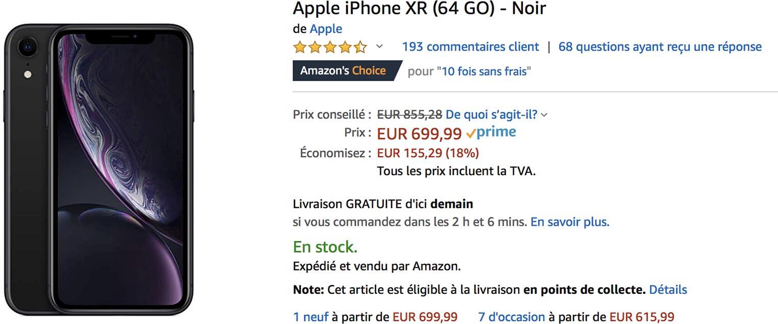 iPhone XR noir promo Amazon