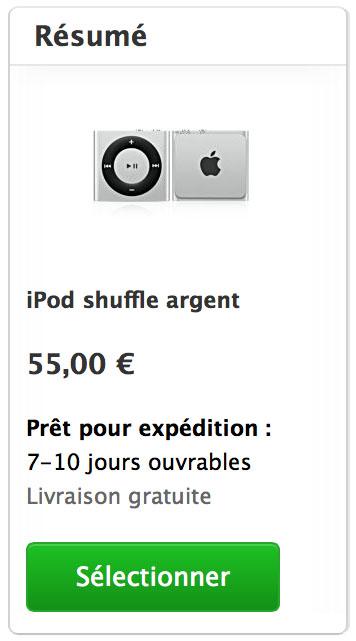 iPod shuffle délais