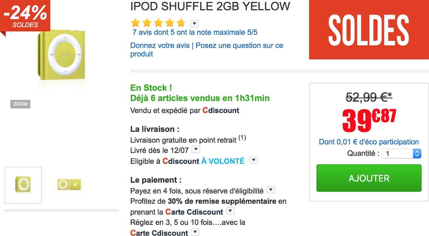 iPod shuffle jaune