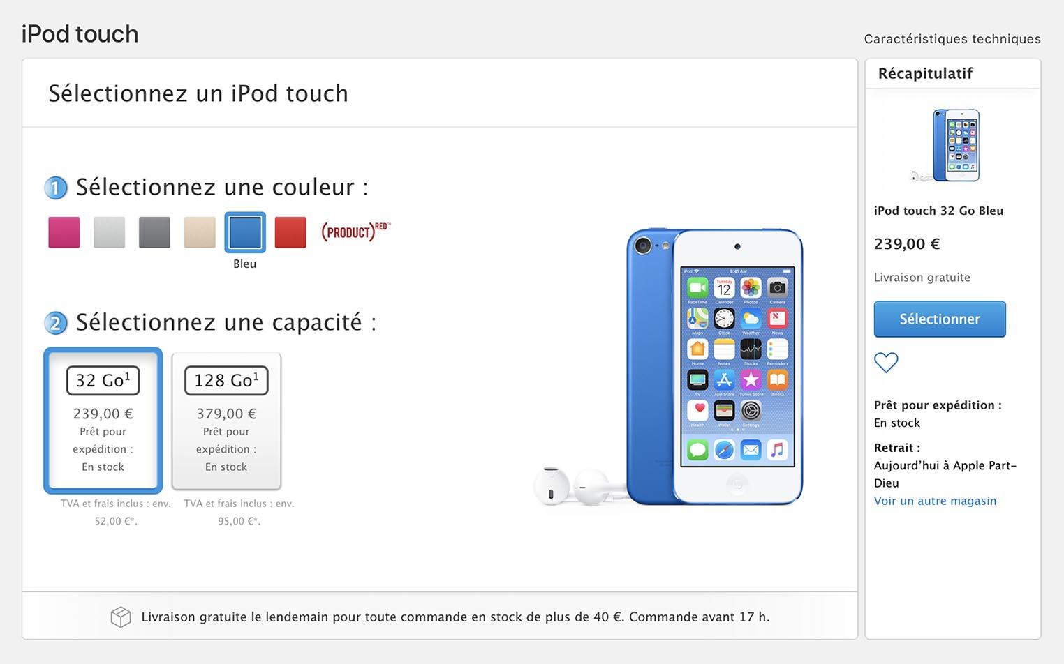 iPod touch bleu Apple Store