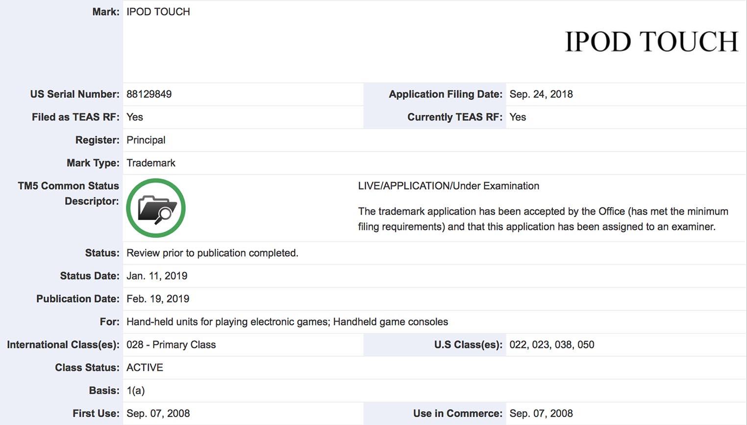 iPod touch marque console de jeux