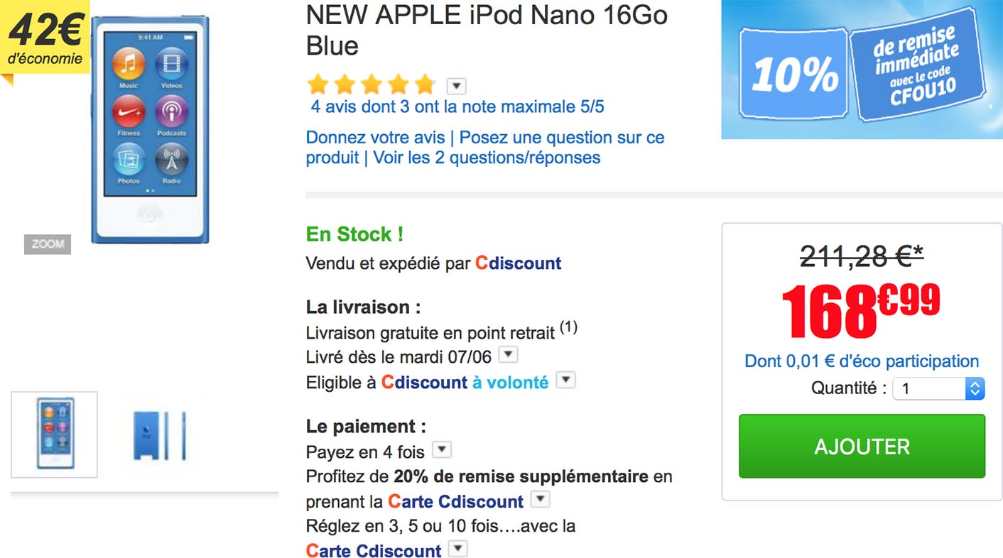 iPod nano bleu