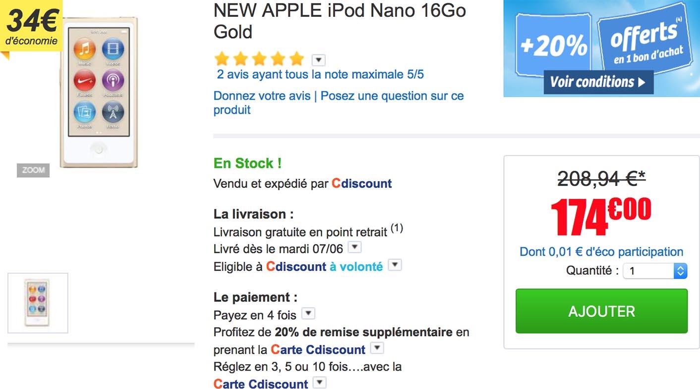 iPod nano doré