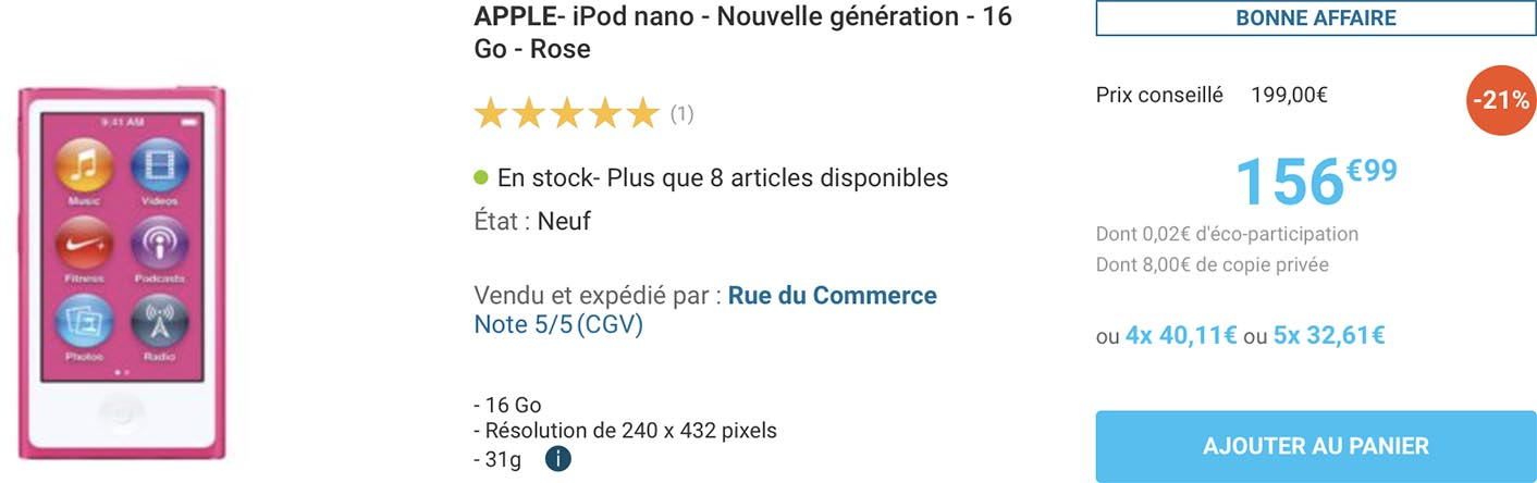 iPod nano Rue du Commerce