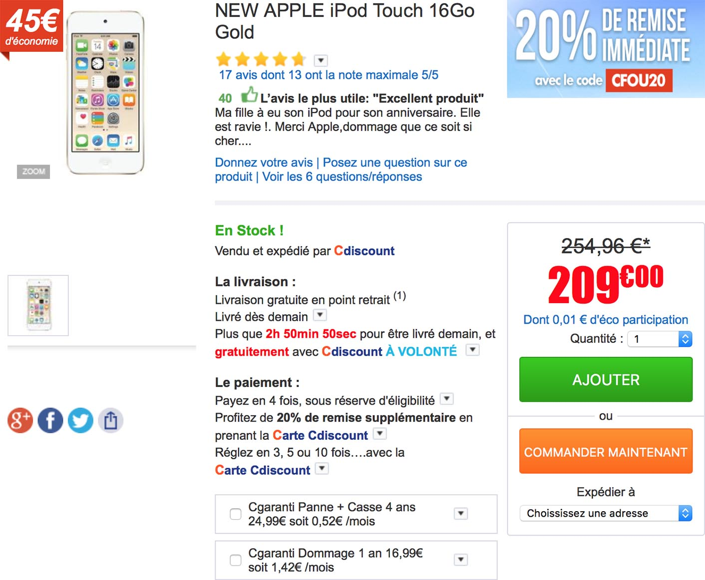 iPod touch CDiscount