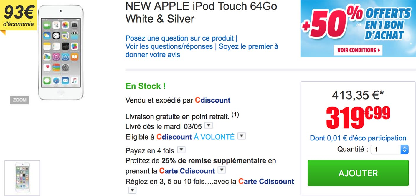 iPod touch promo CDiscount