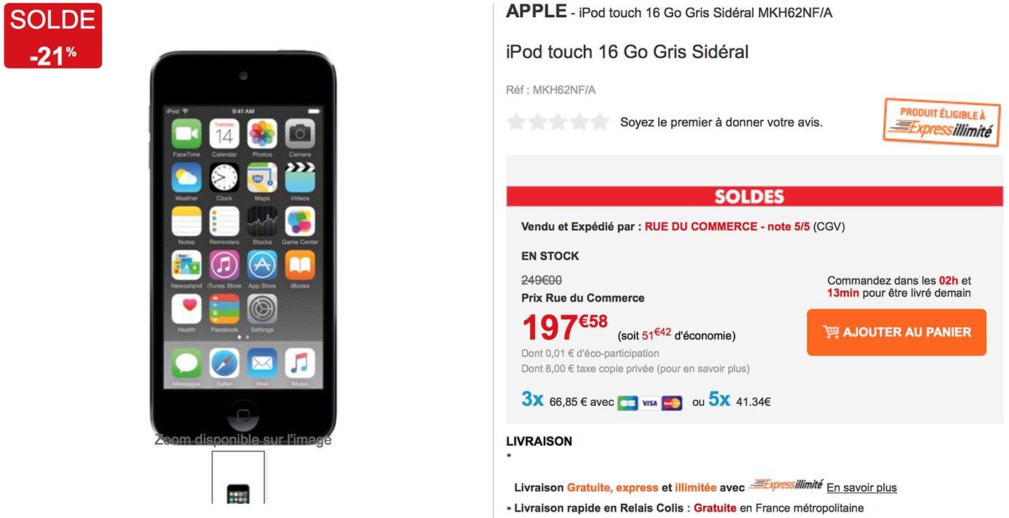 iPod touch soldes Rue du Commerce