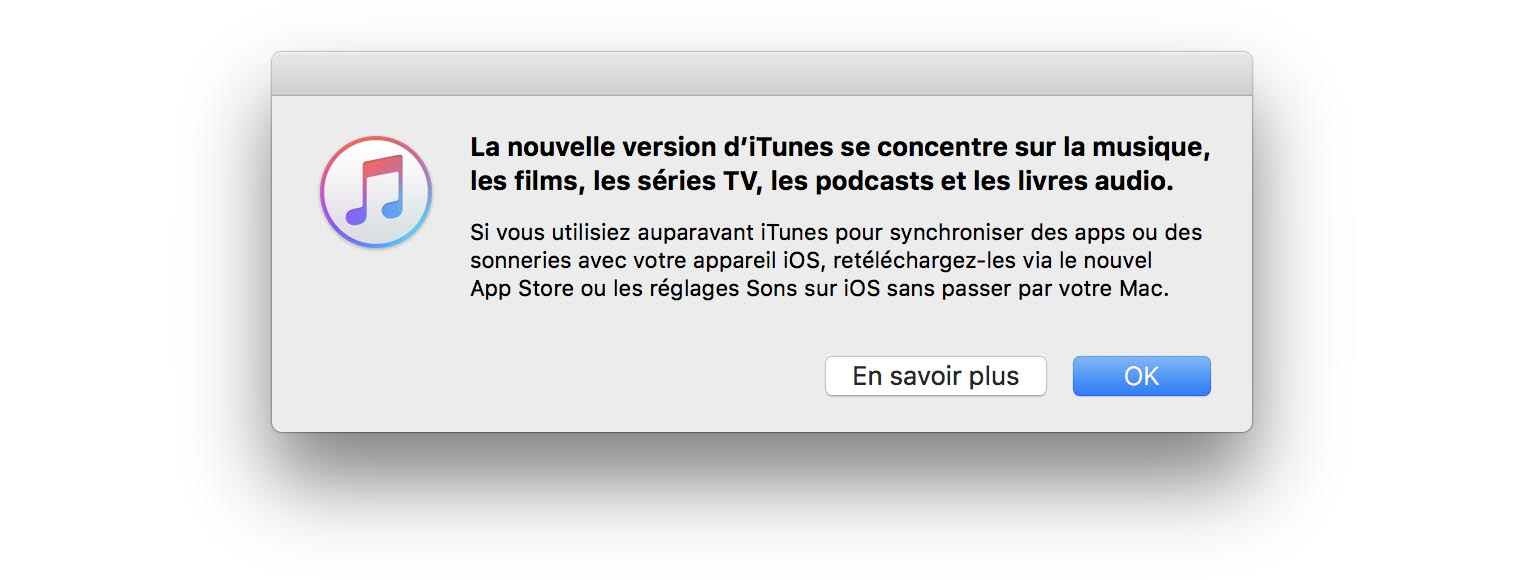 iTunes 12.7 message