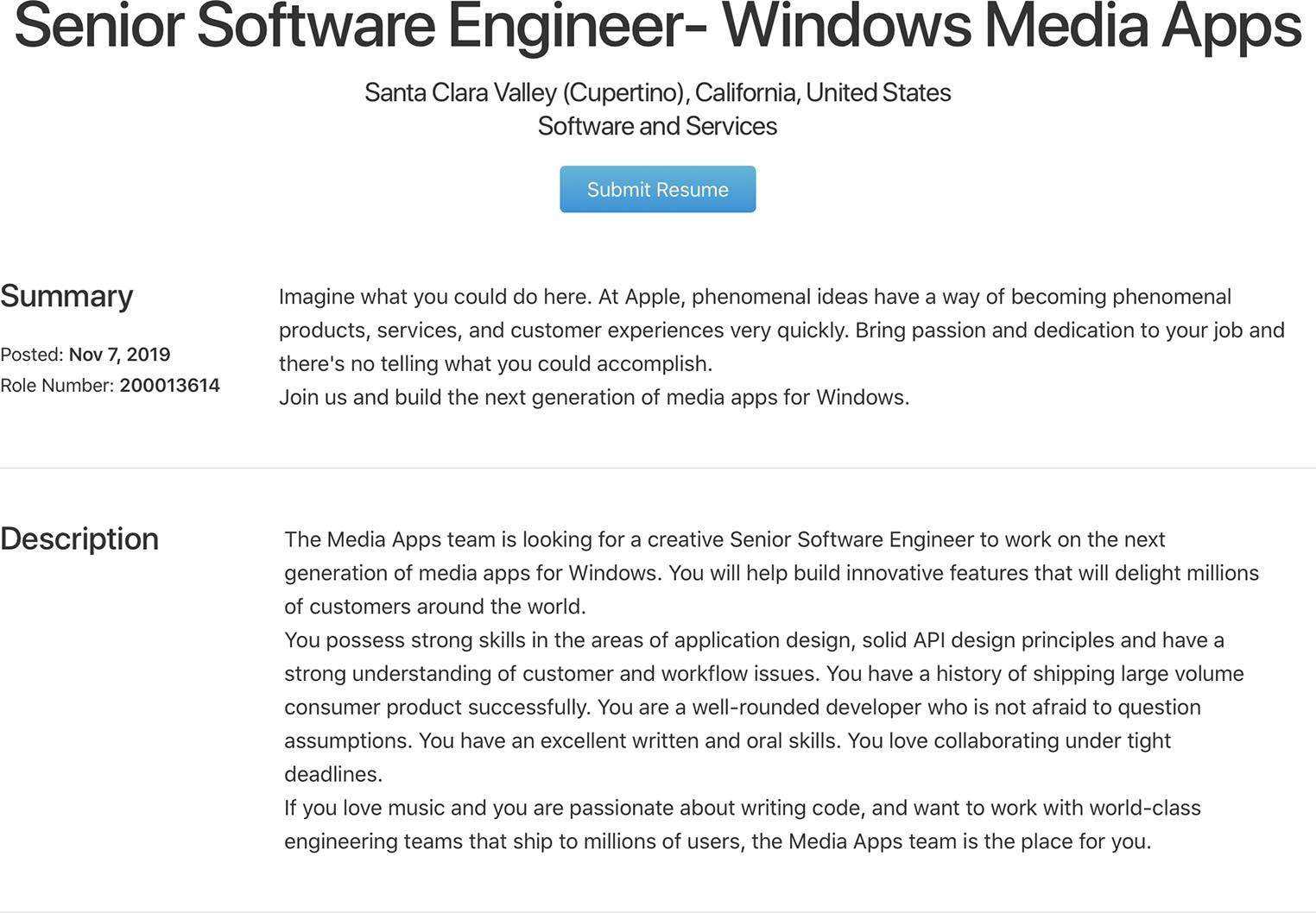 Offre d'emploi iTunes Windows