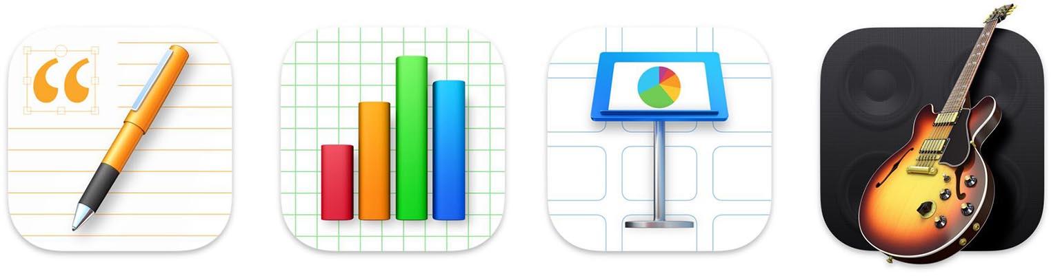 Nouvelles icônes Pages Numbers Keynote GarageBand Big Sur