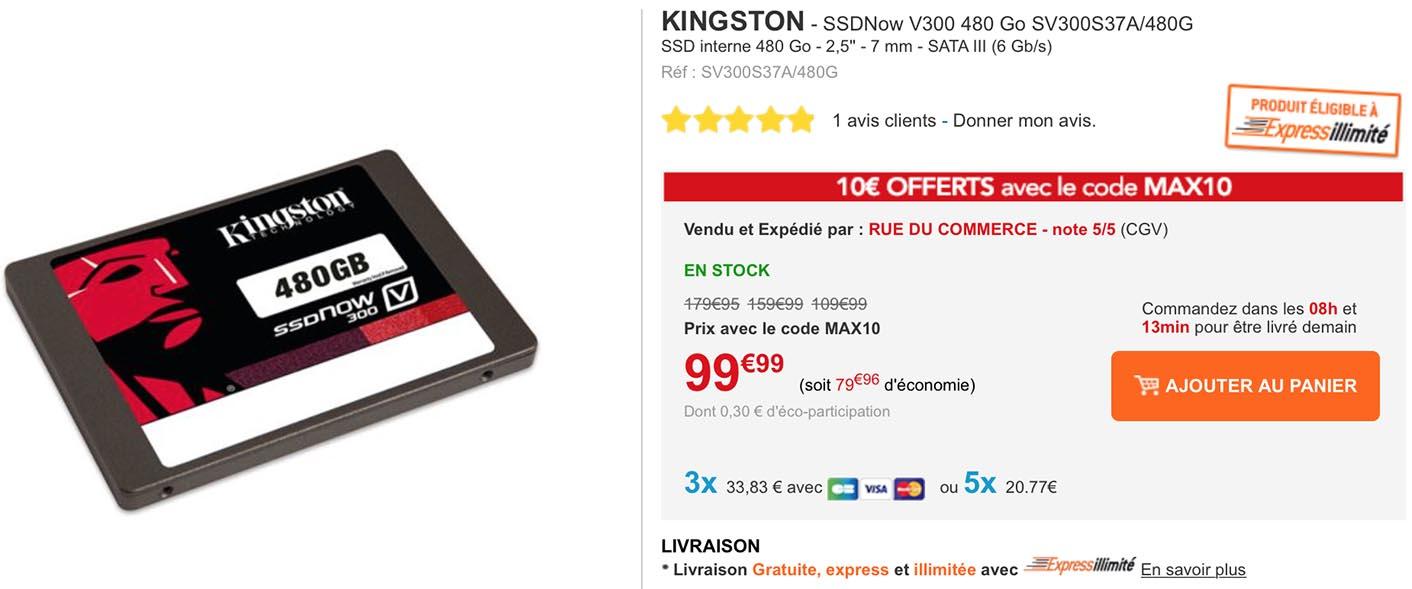 SSD Kingston 480 Go