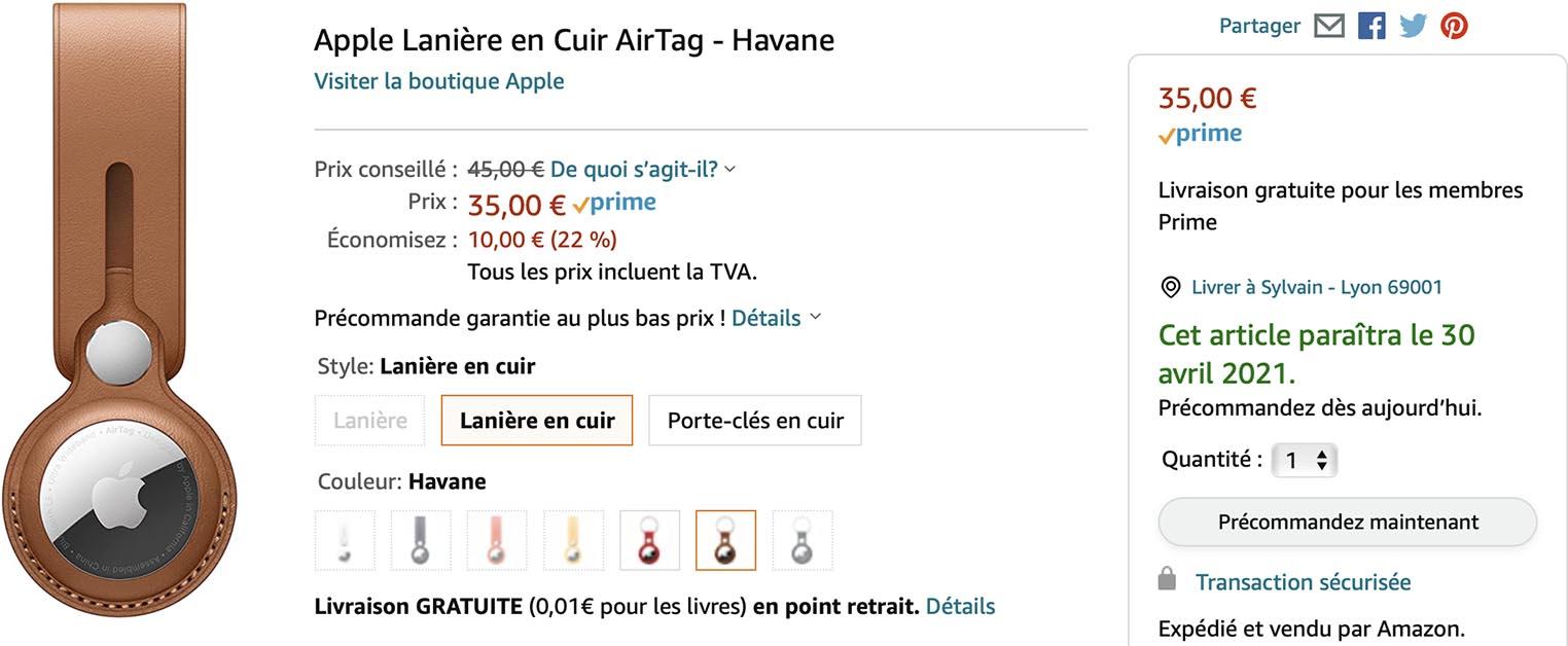 Lanière en cuir AirTag Apple Amazon