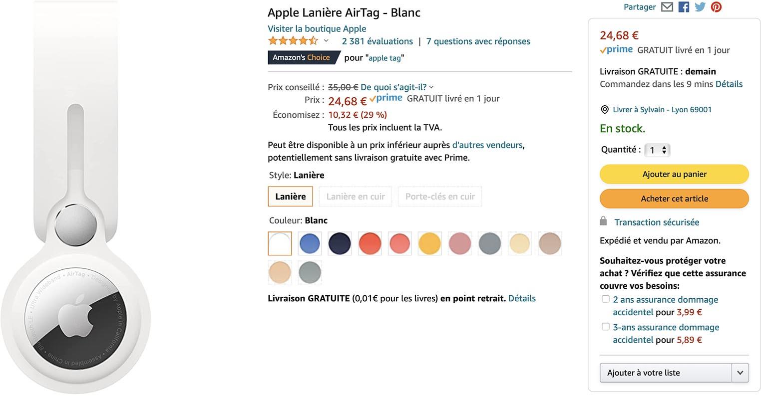 Lanière AirTag Amazon