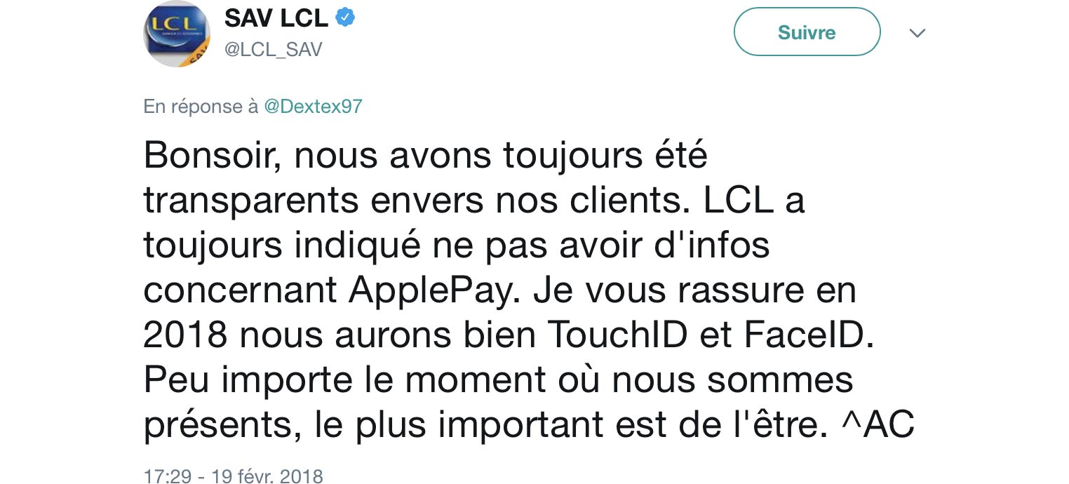 LCL Apple Pay tweet