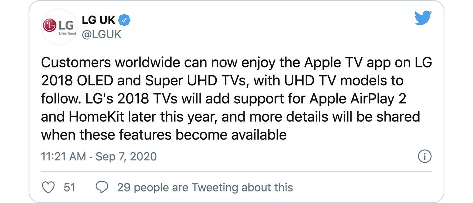 Tweet LG AirPlay HomeKit TV de 2018
