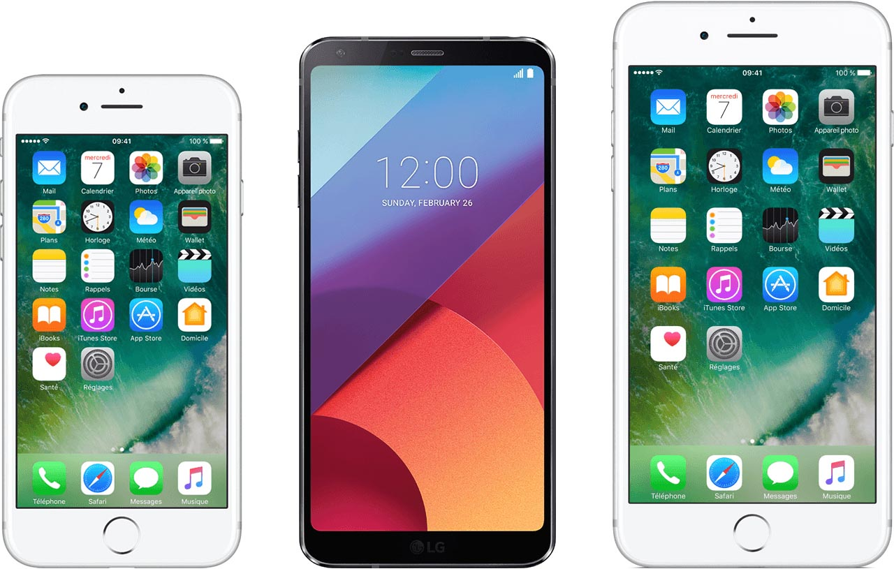 LG G6 iPhone taille comparaison